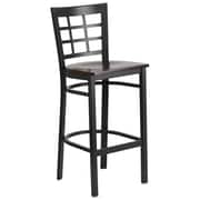 """Flash Furniture  Hercules Series 28.75"""" Black Window Back Metal Restaurant Barstool, Walnut Wood Seat, 2/Box (XU6R7BWINBARWAW)"""