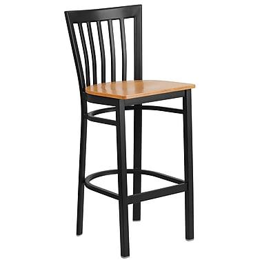 Flash Furniture – Tabouret bistro en métal, dossier à traverses, noir, siège en bois naturel à 29 po (XU6R8BSCHBARNTW)
