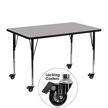 Flash Furniture Mobile 24''W x 48''L Rectangular Activity Table, 1.25'' Gray Laminate Top, Adjustable Legs (XUA2448RECGYHAC)