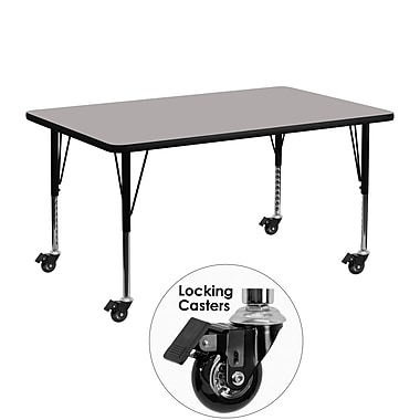 Flash Furniture Mobile 24''W x 48''L Rectangular Activity Table, 1.25'' Gray Laminate Top, Preschool Legs (XUA2448RECGYHPC)