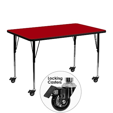 Flash Furniture Mobile 24''W x 48''L Rectangular Activity Table, Red Laminate Top, Height Adjustable Legs (XUA2448RECRDTAC)