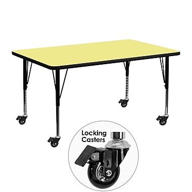 Flash Furniture – Table mobile, surface en stratifié de 24 x 48 po, hauteur ajustable préscolaire, jaune (XUA2448RECYLTPC)