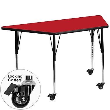 Flash Furniture – Table d'activités mobile trapèze, surface en stratifié de 24 x 48 x 1,25 po, hauteur ajustable, rouge