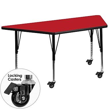 Flash Furniture – Table mobile préscolaire trapèze, hauteur ajustable, surface 24 x 48 x 1,25po, rouge (XUA2448TRPRDHPC)