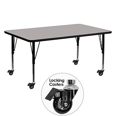 Flash Furniture Mobile 24''W x 60''L Rectangular Activity Table, 1.25'' Gray Laminate Top, Preschool Legs (XUA2460RECGYHPC)