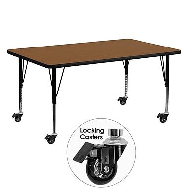 Flash Furniture Mobile 24''W x 60''L Rectangular Activity Table, 1.25'' Oak Laminate Top, Preschool Legs (XUA2460RECOKHPC)