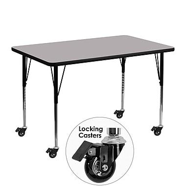 Flash Furniture – Table d'activités mobile, hauteur ajustable, surface en stratifié de 48 x 30 po, gris (XUA3048RECGYTAC)