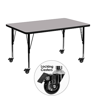 Flash Furniture Mobile 30''W x 48''L Rectangular Activity Table. Gray Laminate Top, Adjustable Preschool Legs (XUA3048RECGYTPC)