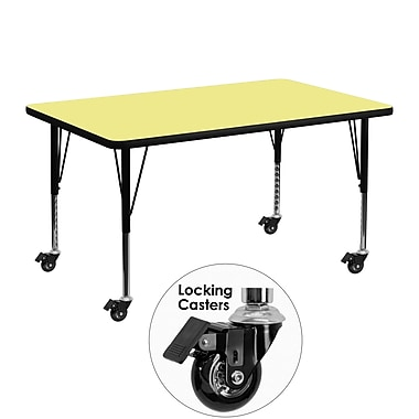 Flash Furniture Mobile 30''W x 48''L Rectangle Activity Table, Yellow Laminate Top, Adjustable Preschool Legs (XUA3048RECYLTPC)