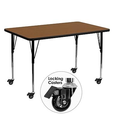 Flash Furniture – Table d'activités mobile, hauteur ajustable, surface en stratifié de 60 x 30 x 1,25po, chêne (XUA3060RECOKHAC)