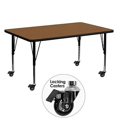 Flash Furniture – Table mobile préscolaire, hauteur ajustable, surface en stratifié de 30 x 60 x 1,25po, chêne (XUA3060RECOKHPC)