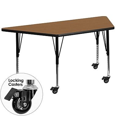 Flash Furniture – Table mobile trapèze, surface de 30 x 60 po, hauteur ajustable préscolaire, chêne (XUA3060TRPOKTPC)