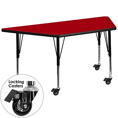 Flash Furniture – Table mobile trapèze, surface de 30 x 60 po, hauteur ajustable préscolaire, rouge (XUA3060TRPRDTPC)
