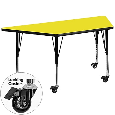 Flash Furniture – Table mobile préscolaire trapèze, hauteur ajustable, surface 30 x 60 x 1,25po, jaune (XUA3060TRPYLHPC)