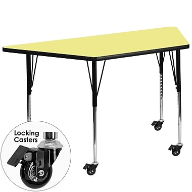Flash Furniture – Table mobile à surface en stratifié en trapèze de 30 x 60 po, hauteur ajustable, jaune (XUA3060TRPYLTAC)