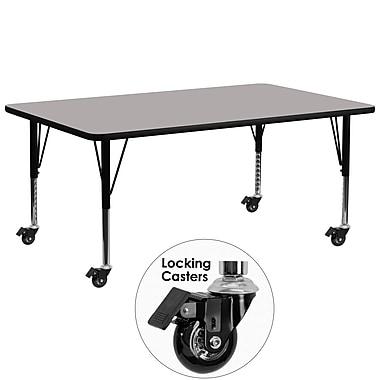 Flash Furniture – Table mobile, surface en stratifié 30 x 72 x 1,25 po, hauteur ajustable préscolaire, gris (XUA3072RECGYHPC)