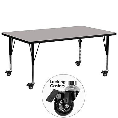 Flash Furniture Mobile 30''W x 72''L Rectangular Activity Table, 1.25'' Gray Laminate Top, Preschool Legs (XUA3072RECGYHPC)