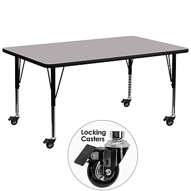 Flash Furniture – Table mobile, surface en stratifié de 30 x 72 po, hauteur ajustable préscolaire, gris (XUA3072RECGYTPC)