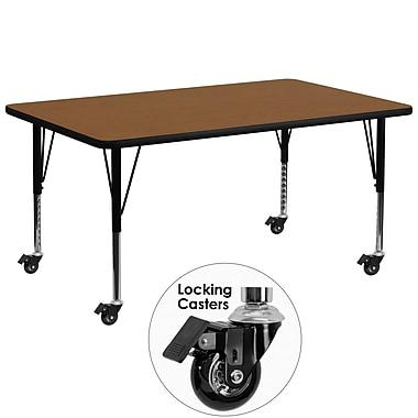 Flash Furniture – Table mobile, surface en stratifié 30 x 72 x 1,25 po, hauteur ajustable préscolaire, chêne (XUA3072RECOKHPC)