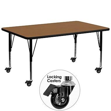 Flash Furniture – Table mobile, surface en stratifié de 30 x 72 po, hauteur ajustable préscolaire, chêne (XUA3072RECOKTPC)