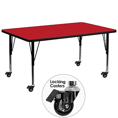 Flash Furniture – Table mobile, surface en stratifié 30 x 72 x 1,25 po, hauteur ajustable préscolaire, rouge (XUA3072RECRDHPC)