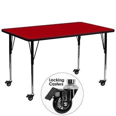 Flash Furniture Mobile 30''W x 72''L Rectangular Activity Table, Red Laminate Top, Height-Adjustable Legs (XUA3072RECRDTAC)
