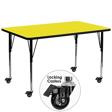 Flash Furniture Mobile 30''W x 72''L Rectangular Activity Table, 1.25'' Yellow Laminate Top, Adjustable Legs (XUA3072RECYLHAC)