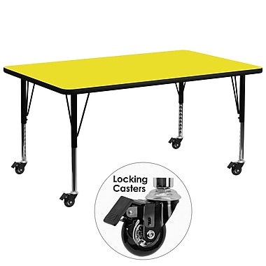 Flash Furniture – Table mobile, surface en stratifié 30 x 72 x 1,25 po, hauteur ajustable préscolaire, jaune (XUA3072RECYLHPC)