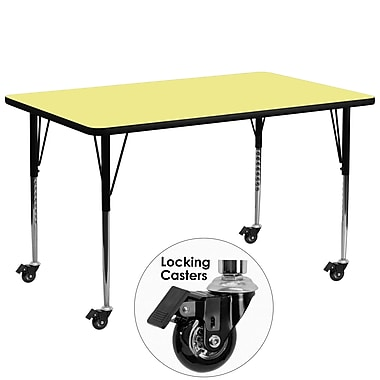 Flash Furniture Mobile 30''W x 72''L Rectangular Activity Table, Yellow Laminate Top, Adjustable Legs (XUA3072RECYLTAC)