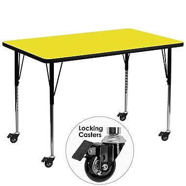 Flash Furniture – Table d'activités mobile, hauteur ajustable, surface en stratifié de 72 x 36 x 1,25po, jaune (XUA3672RECYLHAC)