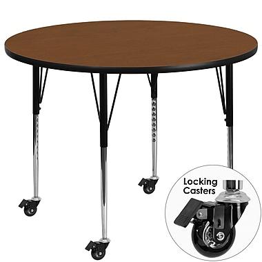 Flash Furniture – Table d'activités mobile à surface en stratifié ronde de 42 x 1,25 po, hauteur ajustable, chêne