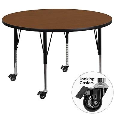 Flash Furniture Mobile 42'' Round Activity Table, 1.25'' Oak Laminate Top, Height-Adjustable Preschool Legs (XUA42RNDOKHPC)
