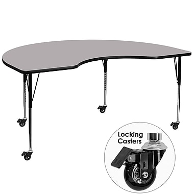 Flash Furniture Mobile 48''W x 72''L Kidney-Shaped Activity Table, Gray Laminate Top, Height-Adjustable Legs (XUA4872KIDGYTAC)