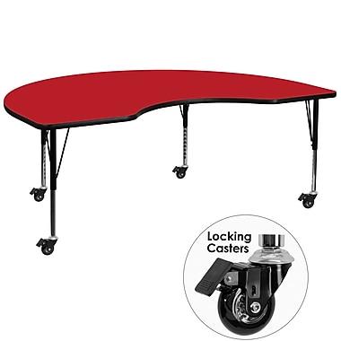 Flash Furniture – Table mobile haricot, surface 48 x 72 x 1,25po, hauteur ajustable préscolaire, rouge (XUA4872KIDRDHPC)