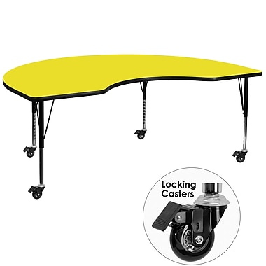 Flash Furniture Mobile 48''W x 72''L Kidney-Shaped Activity Table, 1.25'' Yellow Laminate Top, Preschool Legs (XUA4872KIDYLHPC)