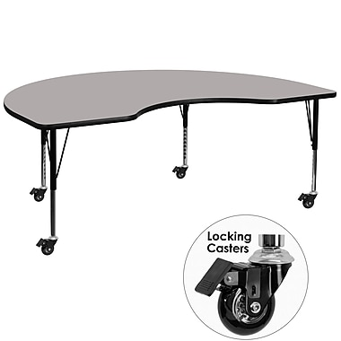 Flash Furniture Mobile 48''W x 96''L Kidney-Shaped Activity Table, 1.25'' Gray Laminate Top, Preschool Legs (XUA4896KIDGYHPC)