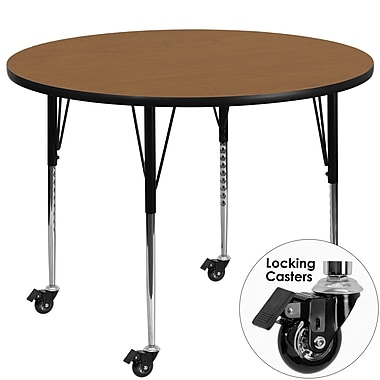 Flash Furniture Mobile 48'' Round Activity Table, Oak Laminate Top, Standard Height-Adjustable Legs (XUA48RNDOKTAC)