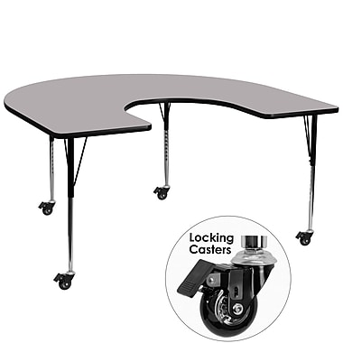 Flash Furniture Mobile 60''W x 66''L Horseshoe-Shaped Activity Table, Gray Laminate Top, Adjustable Legs (XUA6066HRSGYTAC)