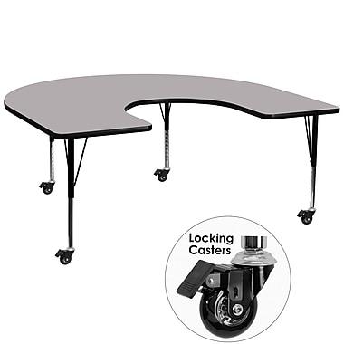 Flash Furniture – Table mobile préscolaire fer à cheval, hauteur ajustable, surface 60 x 66 po, gris (XUA6066HRSGYTPC)