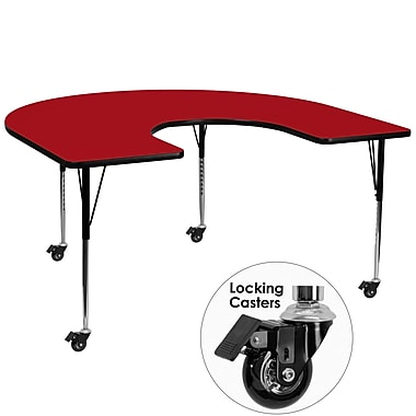 Flash Furniture Mobile 60''W x 66''L Horseshoe-Shaped Activity Table, Red Laminate Top, Height-Adjustable Legs (XUA6066HRSRDTAC)