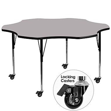 Flash Furniture Mobile 60'' Flower-Shaped Activity Table, Gray Laminate Top, Standard Height-Adjustable Legs (XUA60FLRGYTAC)