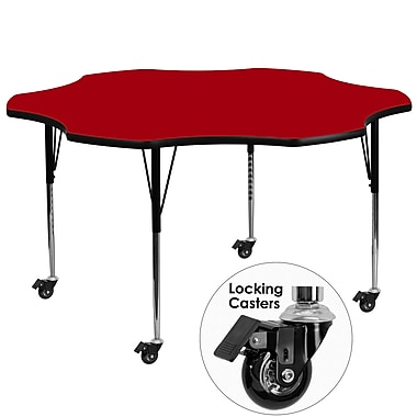 Flash Furniture – Table mobile en fleur, surface en stratifié de 60 po, pattes ajustables en hauteur, rouge (XUA60FLRRDTAC)