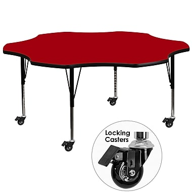 Flash Furniture Mobile 60'' Flower-Shaped Activity Table, Red Laminate Top, Height-Adjustable Preschool Legs (XUA60FLRRDTPC)