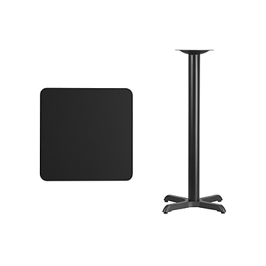 Flash Furniture 24'' Square Laminate Table Top, Black with 22'' x 22'' Bar-Height Table Base (XUBK2424T2222B)
