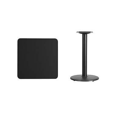 Flash Furniture 24'' Square Laminate Table Top, Black with 18'' Round Table-Height Base (XUBK2424TR18)