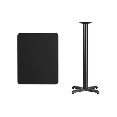 Flash Furniture 24'' x 30'' Rectangular Laminate Table Top, Black with 22'' x 22'' Bar Height Table Base (XUBK2430T2222B)