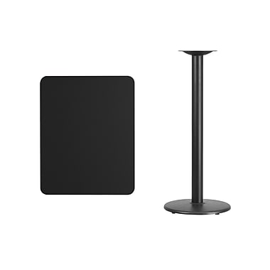 Flash Furniture 24'' x 30'' Rectangular Laminate Table Top, Black with 18'' Round Bar-Height Table Base (XUBK2430TR18B)