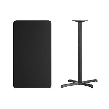 Flash Furniture 24'' x 42'' Rectangular Laminate Table Top, Black with 22'' x 30'' Bar-Height Table Base (XUBK2442T2230B)