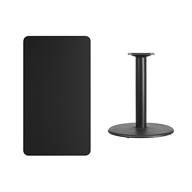 Flash Furniture 24'' x 42'' Rectangular Laminate Table Top, Black with 24'' Round Table-Height Base (XUBK2442TR24)