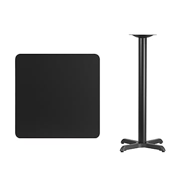 Flash Furniture – Table bistro carrée en stratifié noir de 30 po avec base de 22 x 22 po (XUBK3030T2222B)